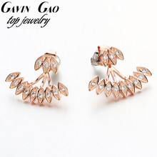 Rose/White Gold Plated AAA Cubic Zironia Leaf Earring Jackets For Women Party Jewelry(China (Mainland))