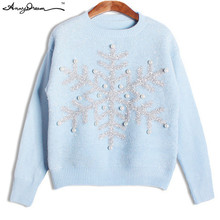 Female Front Sequins Beading and Snow Christmas Print Knitted Sweaters Women Ribbed Collar Cuffs and Hem Pullovers WZZZMY008(China (Mainland))