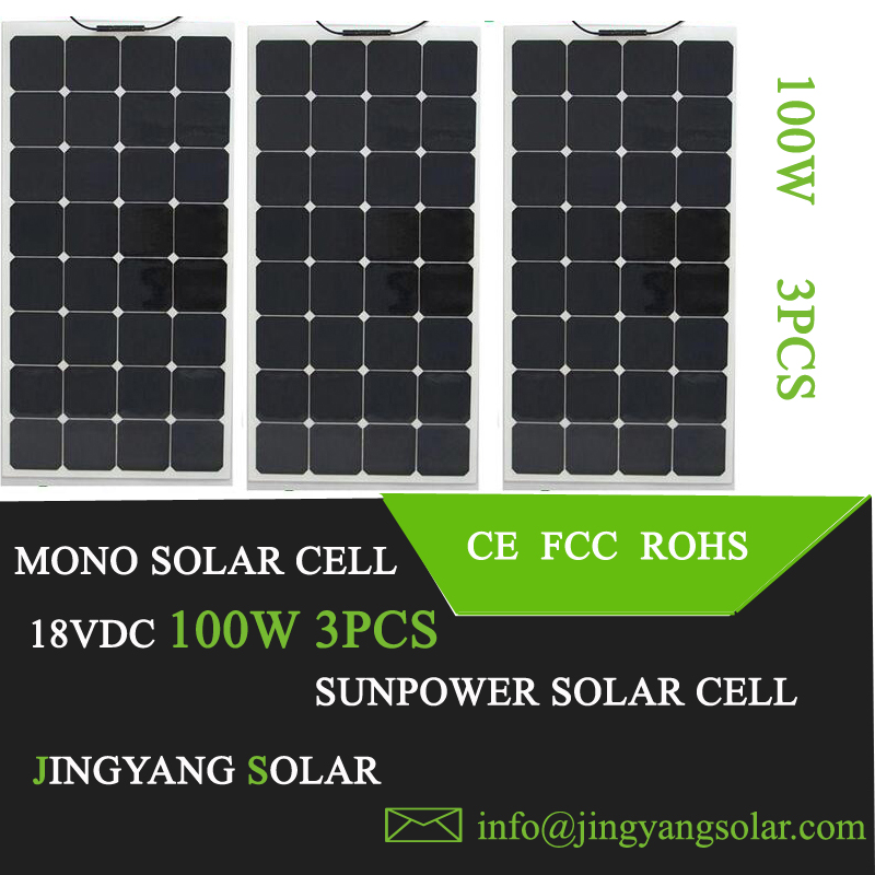 3pcs 100w solar panel 12V battery charger; flexible solar panel 300w for 12v solar system; mono solar panels 100w(China (Mainland))