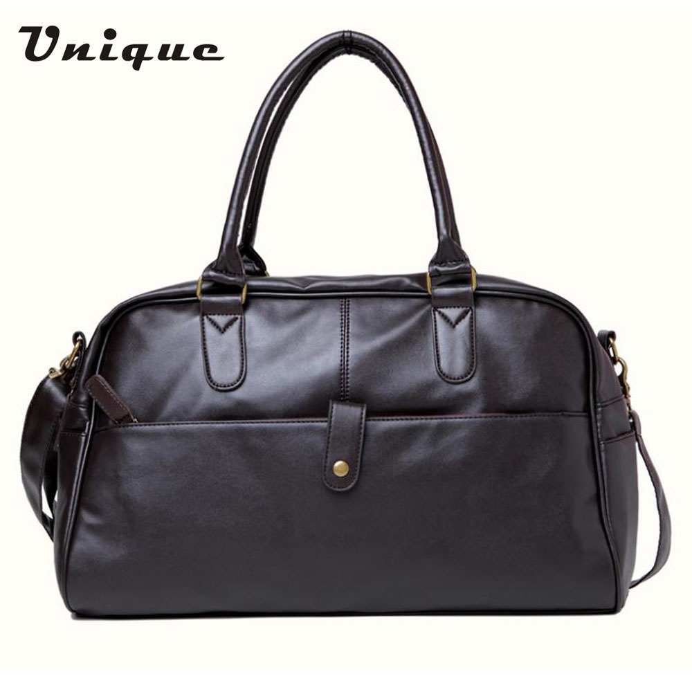 2015 fashion handbag Korean Men's Gym Duffle Satchel Travel PU Leather Shoulder Bag Men Hand bag Free Shipping Wholesale(China (Mainland))