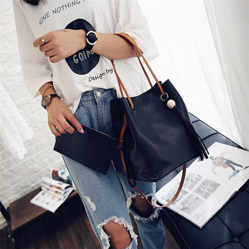 Previous Next Fashion Tassels Single Strap Pure Color Shoulder Bag for Ladies Bags Handbags Women Famous Brands(China (Mainland))
