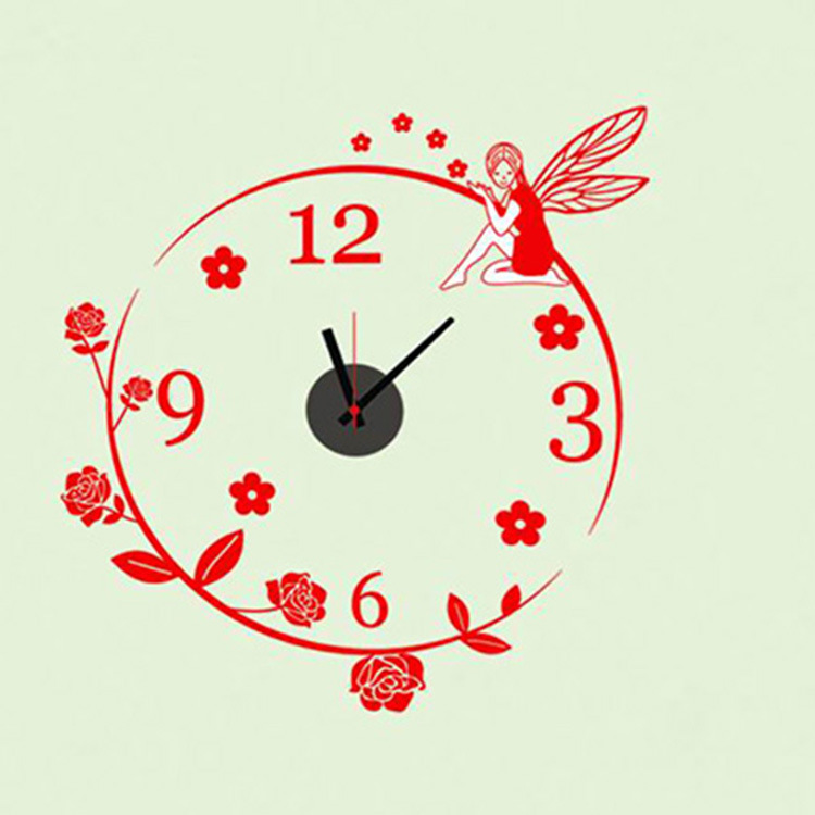 product 3D Wall stickers Creative Fashion Watch Wall Clock Sticker Hanging Table Creative Personality Flower Sprite Decoracao Para Casa