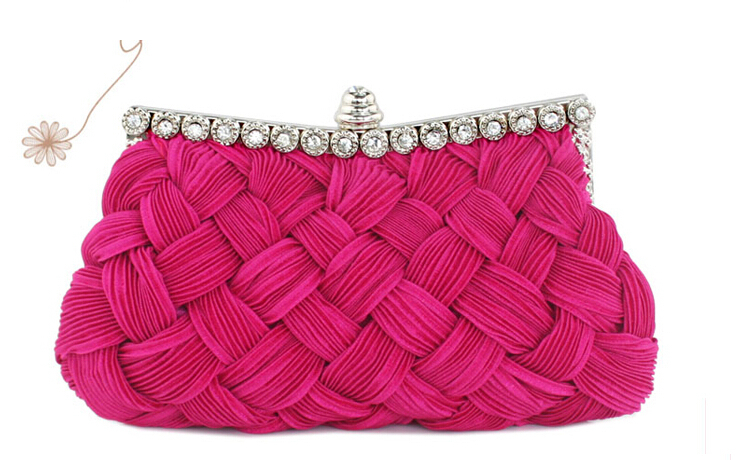 Evening Bags More Colors Fashion Weave Satin Cloth Frame Handbag Purse Elegant Peacock Clutch for Party Evening Dinner(China (Mainland))