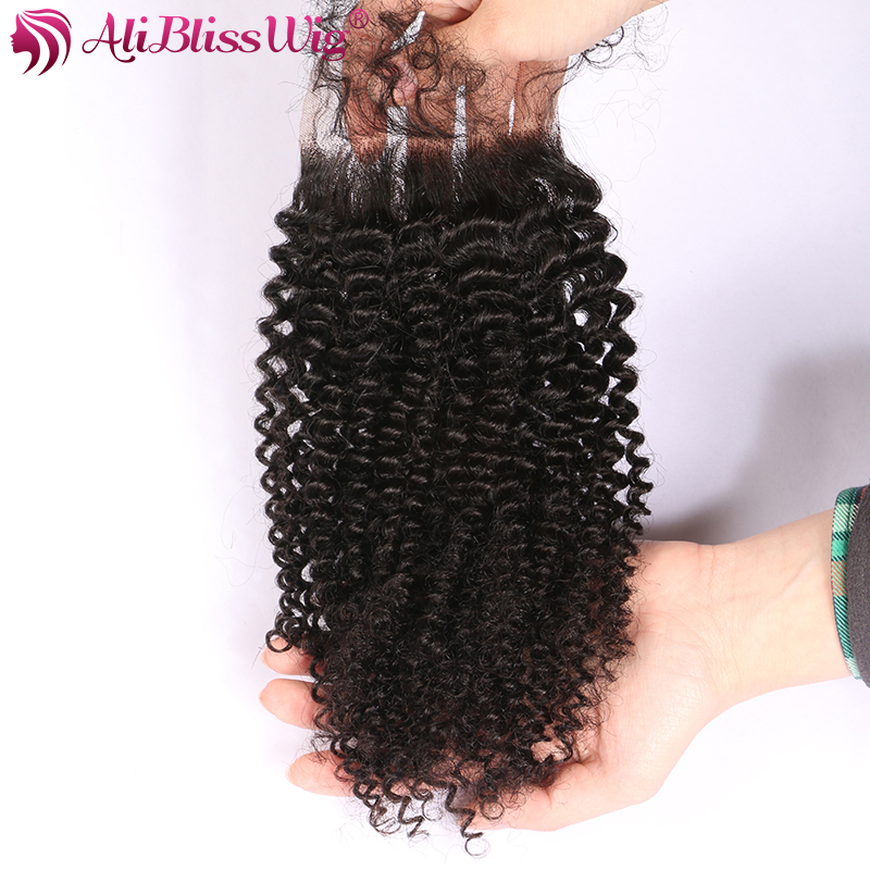 AliBlissWig 3.54 Kinky Curly Closure With Baby Hair Natural Color Free Part Brazilian Remy Hair 100% Human Hair Closure (1)