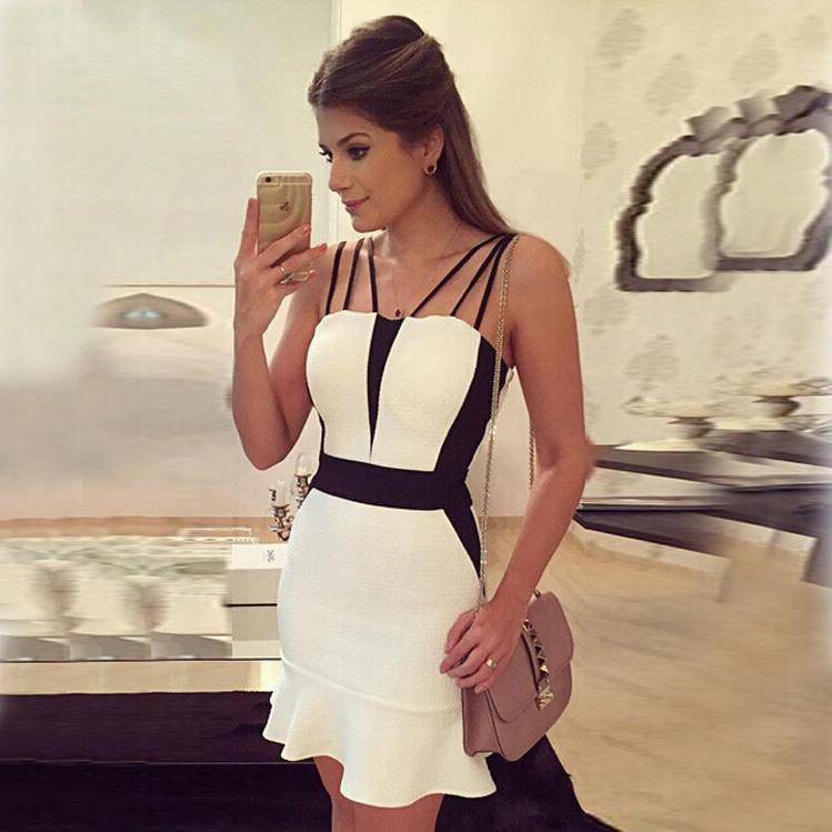 White spaghetti strap short dress