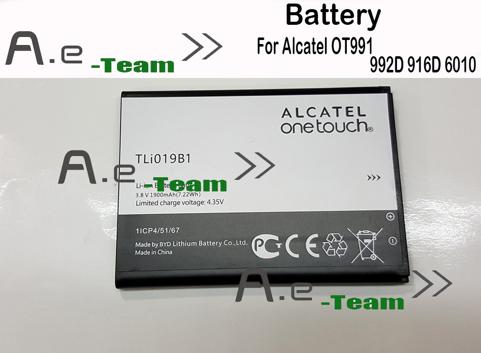 Гаджет  Original 1900mAh Battery TLi019B1 Replacement for Alcatel OT991 992D 916D 6010 phone Free Shipping + Tracking Number+ In Stock None Электротехническое оборудование и материалы