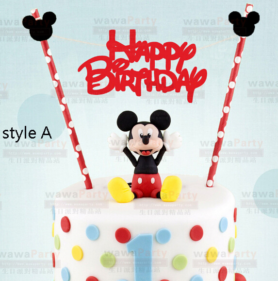 Mickey design Happy Birthday Cake Topper Set for Kids Happy Birthday Party Decoration Supplies Baby Shower Party Deco(China (Mainland))