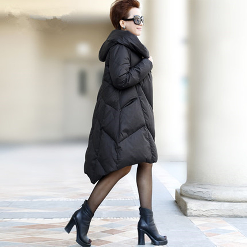 Hot Sale New 2014 Women Winter Europe And America Fashion Long Thick Hooded Coat Plus Size Loose Casual Down Jacket LJ1376