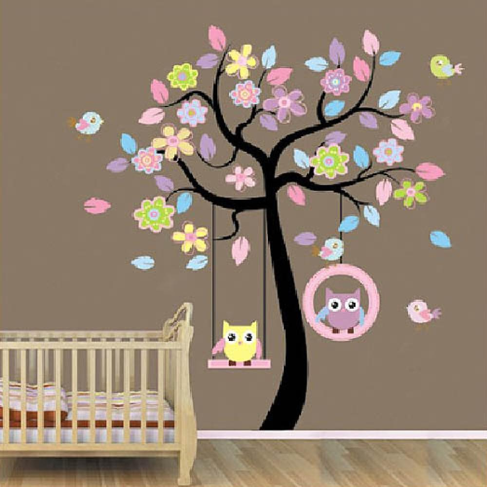 Гаджет  Owl Swing Tree Stickers Removable Diy Vinyl Quote Wall Sticker Poster Home decoration   None Дом и Сад