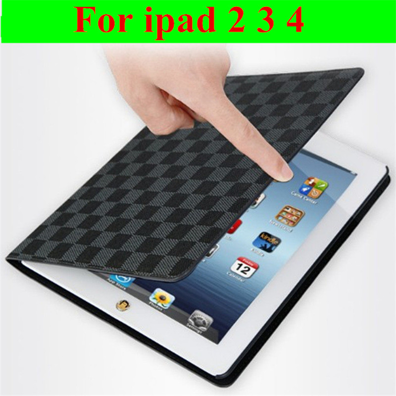 Hot sale Fashion Flip Ultra Thin Stand Book Plaid Leather Cases Smart cover For ipad 2 3 4 automatic sleep free shipping(China (Mainland))