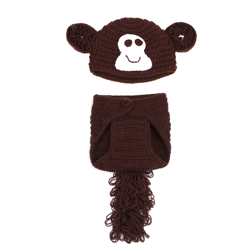Monkey Baby Beanies Hats Newborn Photography Props Cotton Photos Toddler Handmade Baby Clothing Blanket Cute Baby Caps Brown(China (Mainland))