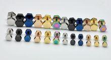 Hexagonal flat 4-7mm titanium stud earring brief 316 stainless steel earrings stud earring 2230(China (Mainland))