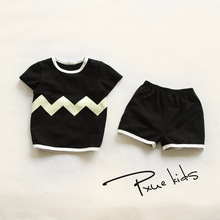 2016 New Summer Boy Clothes Wave Children Clothes for Boys girls Toddler Baby Boys Clothing Set Short Sleeve T Shirts+ shorts