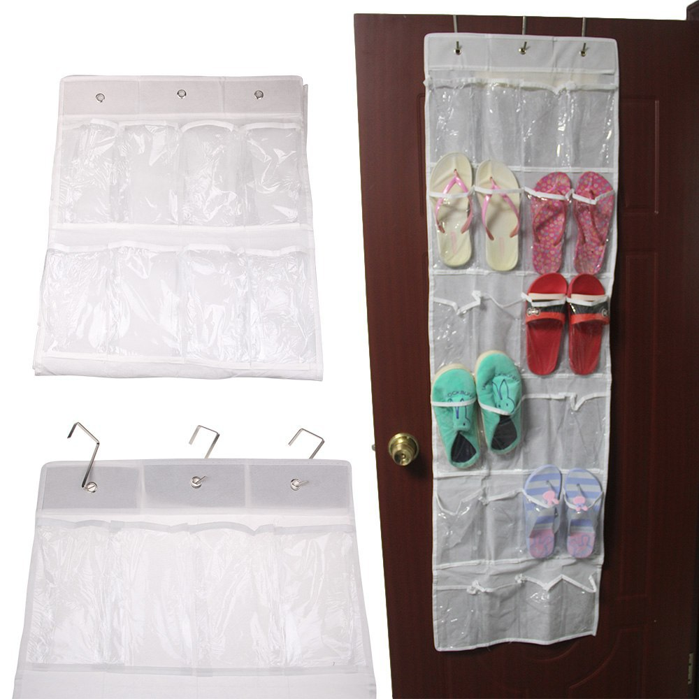 1 pcs 24 Pockets Shoes Storage Bag Clear Over Door Hanging Shoe Organizer Rack With Hooks 2-east(China (Mainland))