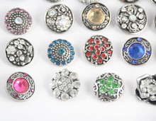 6pcs/lot High quality Mix Many styles 18mm Metal Snap Button Charm Rhinestone Button Ginger Snaps Jewelry Randomly(China (Mainland))