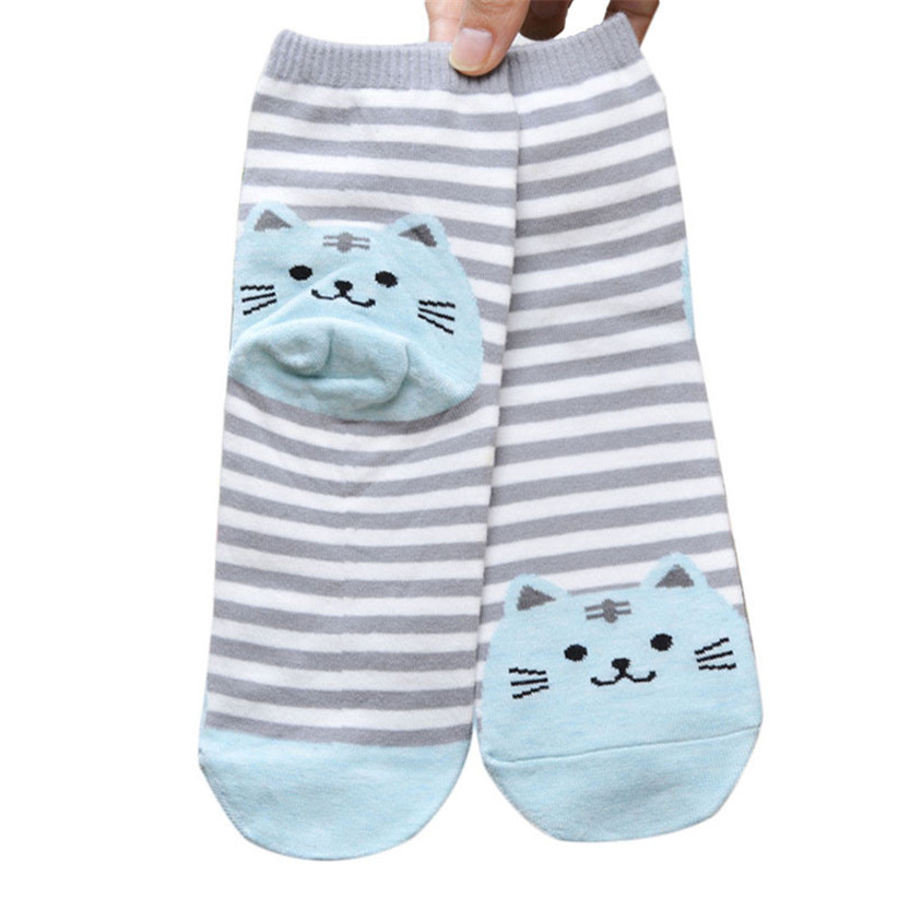 Newly Design Cute Cartoon Cat Socks Striped Pattern Women Cotton Sock Winter Aug10
