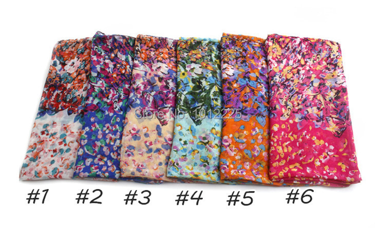 2015 new women Mini Flower hijab shawl unique print design scarf mulism head wrap ombre colors FLORAL and butterfly scarves(China (Mainland))