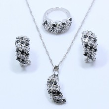 2016 Fashion New Black Sapphire 925 Sterling Silver Jewelry Set For Women Earring Necklace Chain Pendant Ring Free Gift Box T99(China (Mainland))