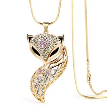 New Arrival Fox Pendant Necklace Trendy Zinc Alloy Animal Snake Chain Long Necklace Rhinestone Necklaces For Women Jewelry(China (Mainland))