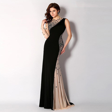 2016 Black Women One Shoulder Beaded Crystals Rhinestone Evening Gowns Prom Gown Mermaid Evening Dresses Long With Sleeves(China (Mainland))
