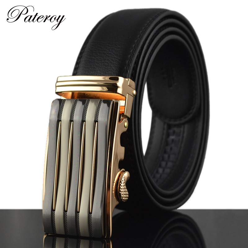 PATEROY High Quality Designer Men Belt Luxury Wave Business models wild belt buckle leather belt auto manufacturers leather(China (Mainland))