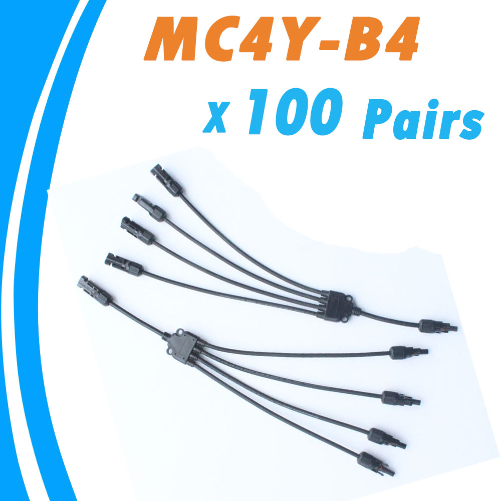 100 Pieces 30A Solar Panel MC4 Conectores IP67 1000V DC MC4Y-B4 4 Pin Waterproof Connector Female and Male Solar Cable(China (Mainland))