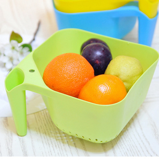 Strange new creative home daily necessities of life fill handle kitchen square drain basket fruit and vegetable basket(China (Mainland))