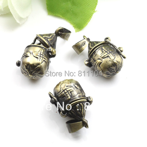11x20mm Antique Bronze Plated Copper Teapot Wish Prayer Box Photo Frame Locket Pendant Wholesale(China (Mainland))
