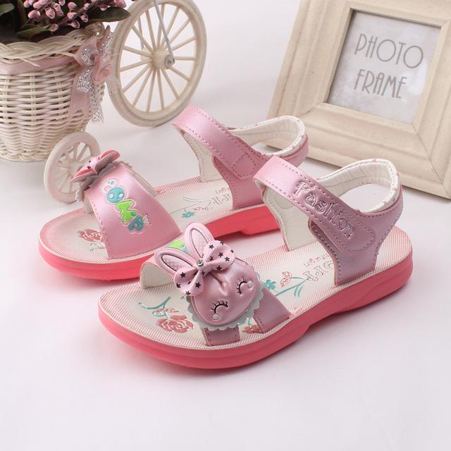 T2016 летние новых детская обувь мода для девочек сандалии с бантом девушки полиуретан нижней принцесса обувь детей сандалии