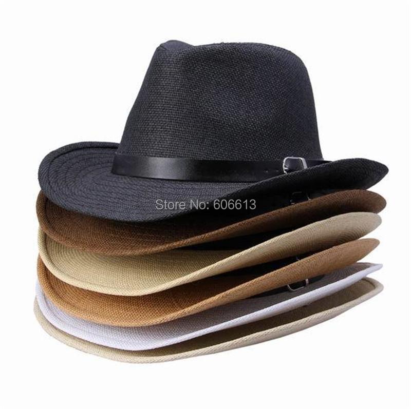 2015 new summer multi couleur chapeau de paille en cuir band designer femme homme cowboy panama. Black Bedroom Furniture Sets. Home Design Ideas