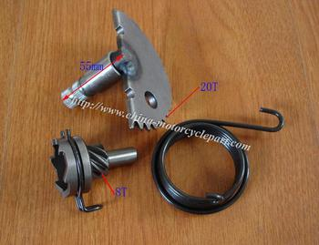 GY6 50 60 80 CC 139QMB 55mm long 20T Kick Starter Shaft Kit with Bushing + 8T Idler Gear + Kick Starter Spring