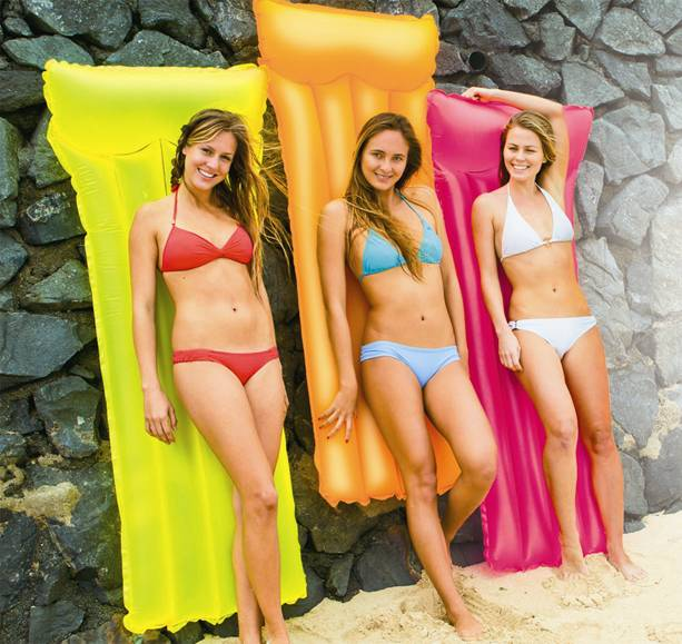 183*76cm Inflatable Kids Women Bright Bed Float Raft Float for Swimming Pool Beach Sea Eco-Friendly PVC Green Yellow Rose(China (Mainland))