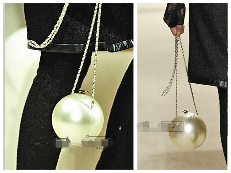 Famous brand LOGO luxury arcylic globe pearl shape wedding party clutch evening bag women's handbag chain shoulder messenger bag(China (Mainland))