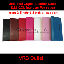 7 color 4 size Universal mobile phone pu leather case for iphone samsung with free screen protector(China (Mainland))