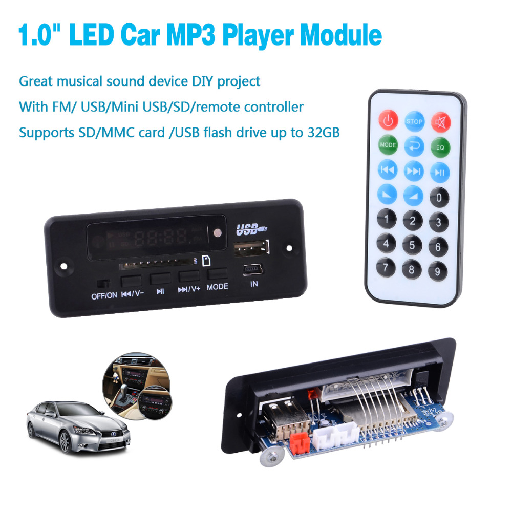 1.0 inch LED Car MP3 Player 12V Module FM/ USB/Mini USB/SD/Remote Controller w/3 Connection Cable-Black - Landygaga Gadgets Store store
