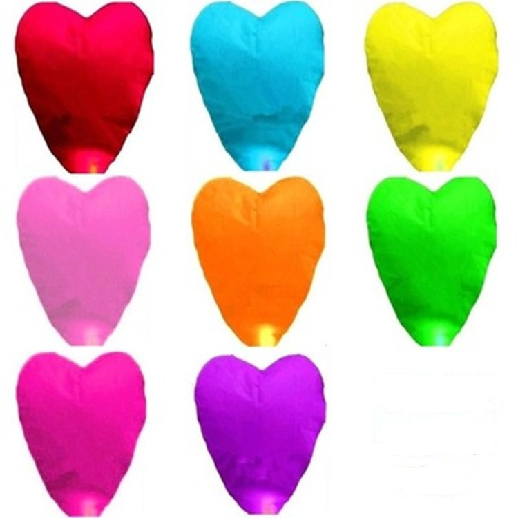 Mixed color Heart Sky Lanterns Chinese Paper Sky Candle Fire Balloons for Wedding / Anniversary / Party / Valentine(China (Mainland))