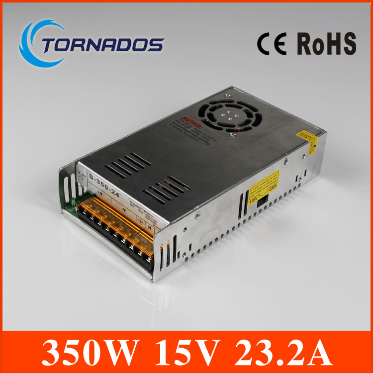 Free shipping high quality s-350-15 350W 15V 23.2A Single Output Switching power supply for LED Strip light AC to DC(China (Mainland))
