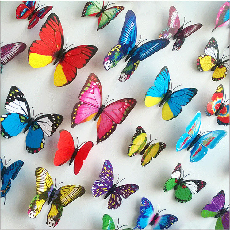 12pcs/set PVC 3D Butterfly Wall Sticker for Home Decoration Decals Art Home Interior Room Wall Stickers Mural Decoration(China (Mainland))