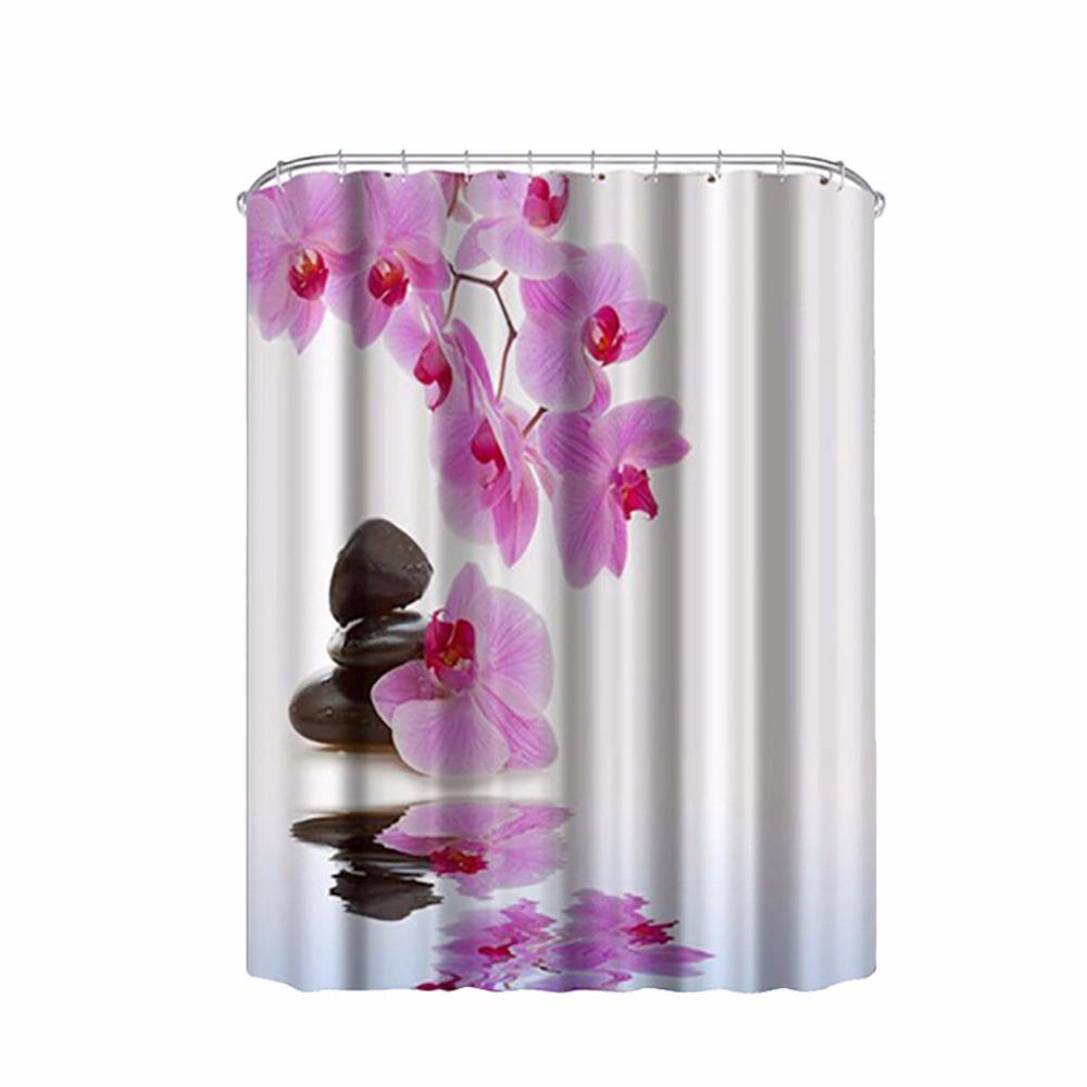 1pcs High Quality Purple Flower Design Bathroom Shower Curtains with Hooks Bathroom Accessories Bath Curtain LM76(China (Mainland))
