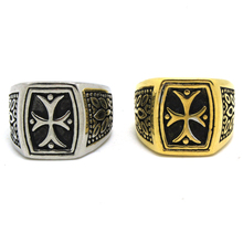 Europe Style Mens Boys 316L Stainless Steel Punk Gothic Vintage Cross Golden Silver Newest Design Ring