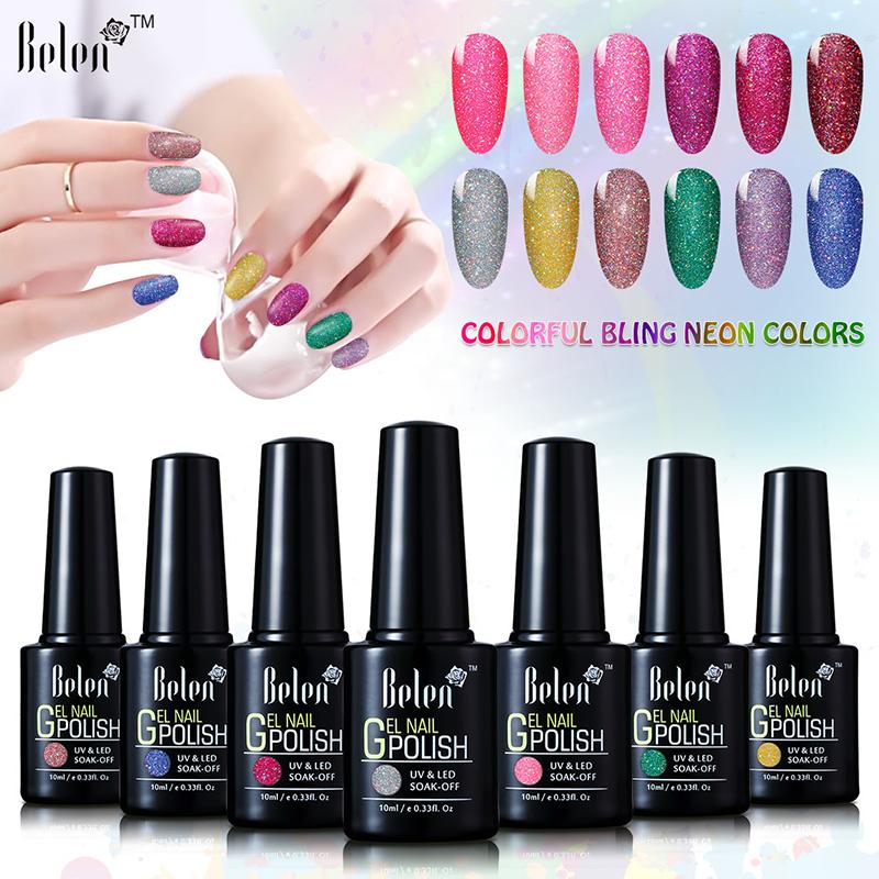 Belen 10ML Neon Nail Gel Polish Soak Off UV Colorful Nail Colors Art For Gel Nail Polish Long-lasting Gel Lacquers(China (Mainland))