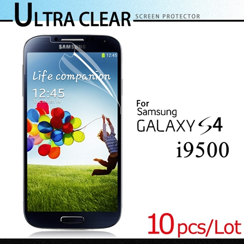 Hot Sale For Samsung Galaxy S4 i9500 Screen Protector Clear LCD Glossy Screen Protective Film 10pcs/lot With OPP Package(China (Mainland))