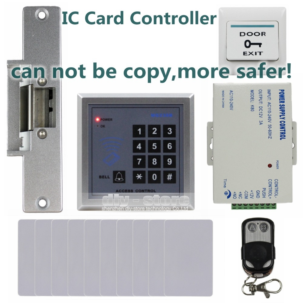 RFID 13.56 MHz IC Card Reader Keypad Access Control System Security Kit + Electric Strike Door Lock + Remote Control MG236B(China (Mainland))