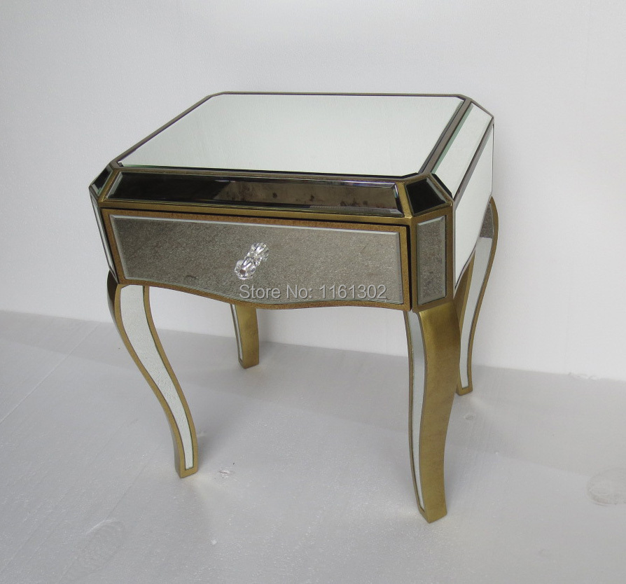 Mirrored furniture One drawer Bedside Table /Night stand(China (Mainland))