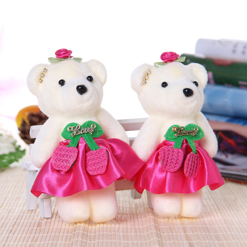 Manufacturers selling ice cream Wearing drill bear doll mini design teddy bear flower bouquets plush toys for promotional gift(China (Mainland))