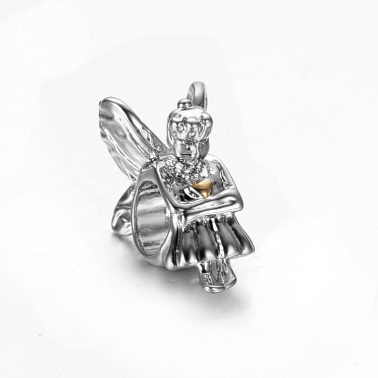 free shipping silver and gold plated love angel big hole Bead Fits European Pandora Charm Bracelets & Necklaces PB004(2)(China (Mainland))