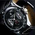 Winner Sport Mens Black Faux Leather Band Date Automatic Mechanical Wrist Watch
