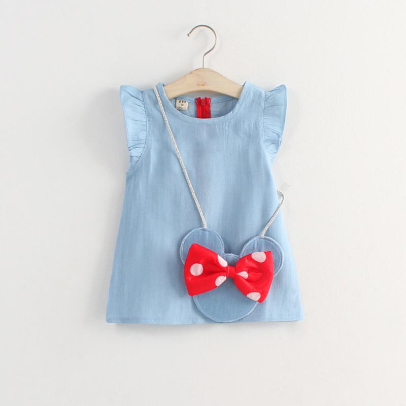 New 2015 summer wear Han edition female children's wear children's rabbit mickey handbag dress cowboy dress baby girl super cute(China (Mainland))