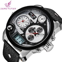 2015 WEIDE Oversized men watch analog sports watch genuine leather Japan quartz watch 1 year guarantee