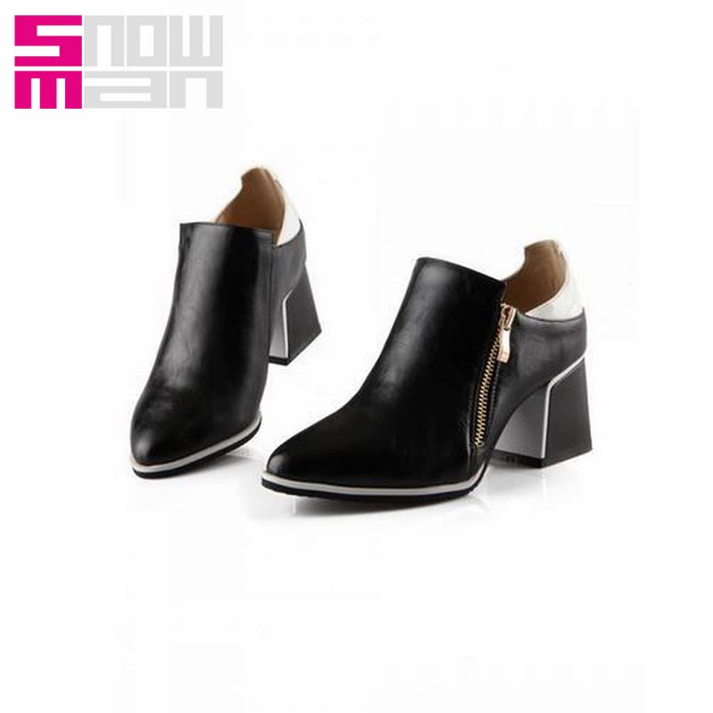 Big Size 34-43 Thick Square Heels Ankle Boots For Women Spring Autumn Winter Sexy Zipper Color Mix Motorcycle Boots Fashion 2015<br><br>Aliexpress